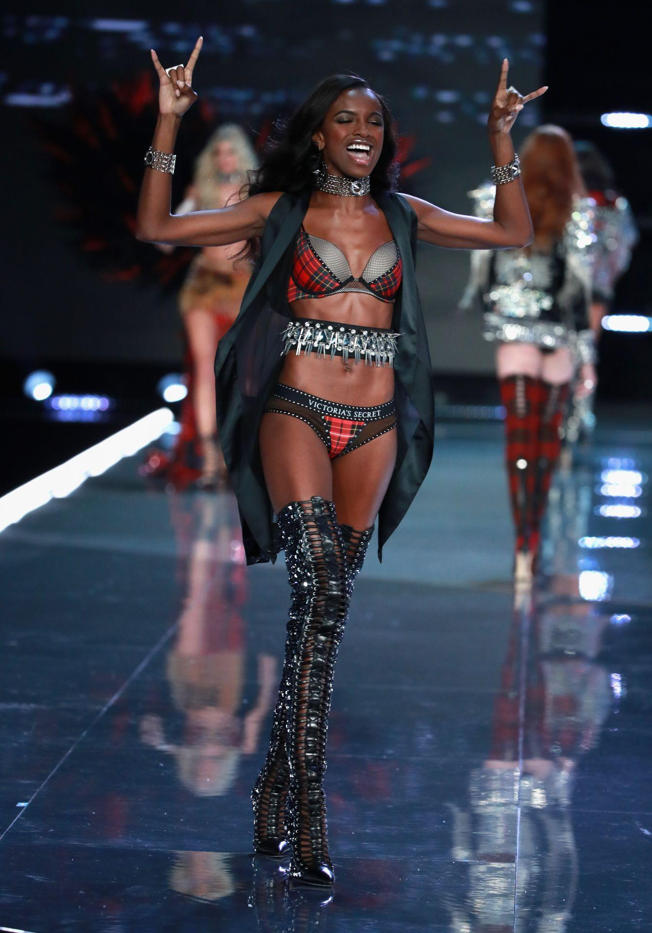 Leomie Anderson wears look made iwth Swarovski crystals at VSFS